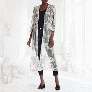 NEW🌸RONNI NICOLE White Lace Duster Coverup
